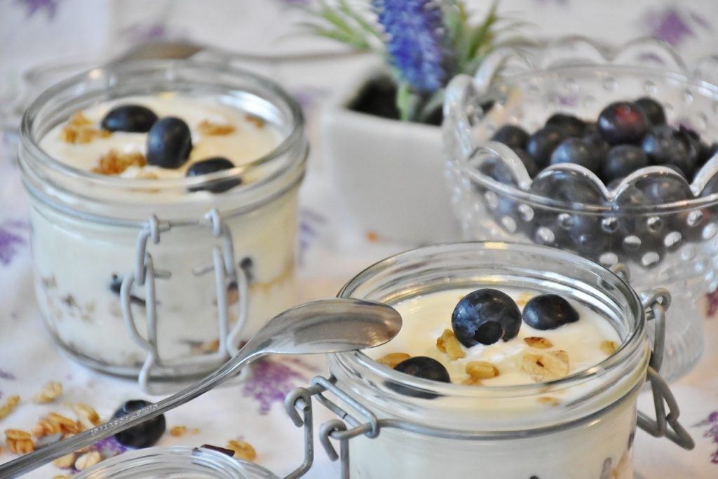 yogurt, berries, blueberries