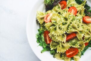 close-up, pasta, pesto