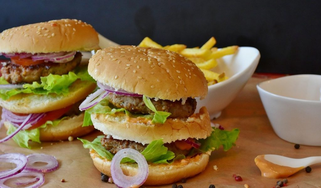 burger, hamburger, roll